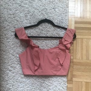 Wilfred coral cropped frill summer top NWOT